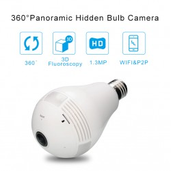Bulb Light Wireless IP Camera Wi-fi FishEye 960P 360 Degree Mini CCTV Camera