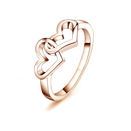 18K Rose Gold Plated Double Heart Ring