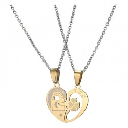 Dual Tone Love Heart Lock Couple Necklace