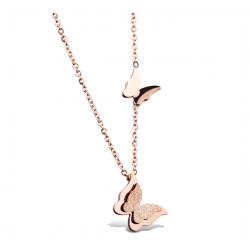 18K Rose Gold Plated Titanium Steel Butterfly Pendant