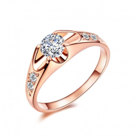 18K Rose Gold Plated CZ Engagement Ring