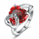 Platinum Plated Double Heart Simulated Ruby Cocktail Ring