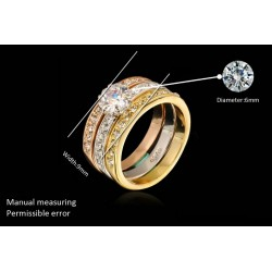 18K Gold Plated Austrian Crystal Trio Ring Set(SK-R15)