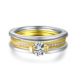 18K Gold Plated Two Tone Wedding Ring Set(SK-R7)