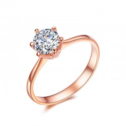 18K Rose Gold Plated Classic 6 Prong Solitaire Zircon Ring(SK-R8)