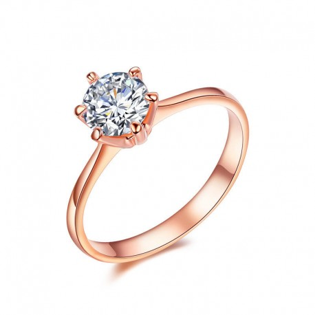 Buy 18k Rose Gold Plated Classic Prong Solitaire Zircon