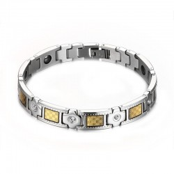 18K Gold Plated Dual Tone Stainless Steel Men Bracelet