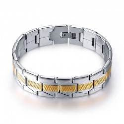 18K Gold Plated Dual Tone Stainless Steel Men Bracelet(SK-R11)