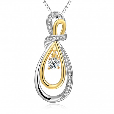 Sterling Silver Infinity Knot CZ Diamond Pendant(SK-R24)