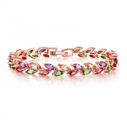 Rose Gold Plated Colorful CZ Bridal Bracelet MR021BR