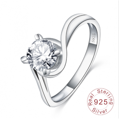 S925 Silver Brilliant Cut Engagement Ring MR017R