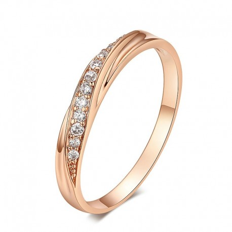 Classic 18K Rose Gold Plated Rhinestones Studded Ring MR057R