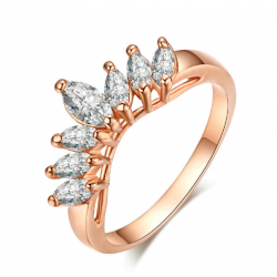 18K Rose Gold Plated Olive cut CZ Crown Ring MR031R