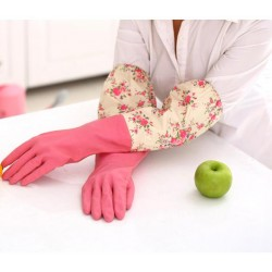 Floral flower long cuff rubber dish washing gloves
