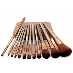 Wooden Makeup Brush Set of 12 with Storage Box
