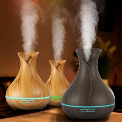 Aromatherapy Air Humidifier Wooden Aroma Essential Oils Diffusers Purifier Spa Atomizer 400ml