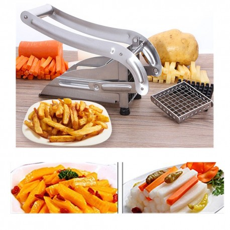 Stainless Steel Potato French Fry Cutter,Potato Slicer With 2 Interchangeable Blades for Easy Slicing