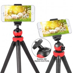 Flexible Tripod Stand for DSLR Camera, Mobile and GoPro with Detachable Ball Head & Smartphone Mount