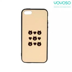 YOYOSO Bear and Heart Printed Mobile Cover For Iphone 5S