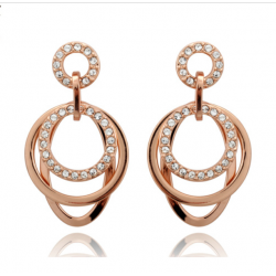 18K Rose Gold Plated Stellux CZ Multilayer Earrings MR001E