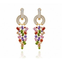 18K Gold plated Multicolor CZ Monalisa Bridal Earrings MR009E