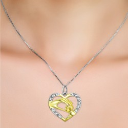 18K Gold Plated S925 Silver Holding Hands Pendant MR007P