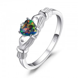 S925 Silver 0.8Ct Fire Opal Claddagh Ring MR014R1