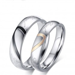 Stainless Steel Real Love Heart Couple Ring MR065R
