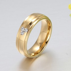 18K Gold Plated Titanium Steel His and Her Wedding Band MR076R