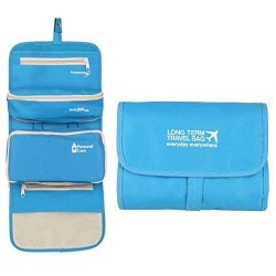 Multifunctional Long Term Bag Waterproof Toiletry, Cosmetic Bag with 2 Detachable Pouches (Blue)