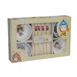 Bowl Set With 8 Pieces Chopsticks