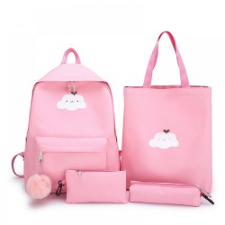 4 Piece Cloud Design Travel Laptop Canvas Shoulder Bag Cross Body Purse Pencil Case Set