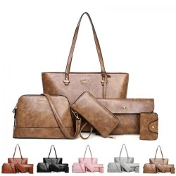 5 In 1 Elegant Design Large Capacity Soft Pu Leather Tote Handbag Set