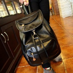 Unicolor Pu Leather Water Repellent Casual Tablet Laptop Classic Backpack