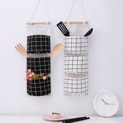 Fabric Wall Door Closet Hanging Storage Bag 3 Pockets Plaid Splice Pouch
