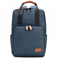 Pu Leather Handle Oxford Canvas Casual Laptop Office Backpack