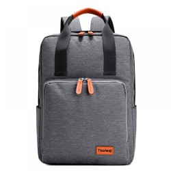 Pu Leather Handle Oxford Canvas Casual Laptop Office Backpack(