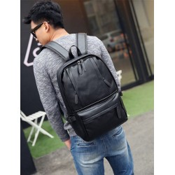 Korean Design Two Front Pockets Pu Leather Shoulder Laptop Backpack-black