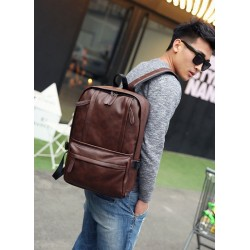 Korean Design Two Front Pockets Pu Leather Shoulder Laptop Backpack-brown
