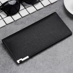 Men's Ultra-thin Pu Leather Long Wallet Pocket Card Id Credit Bifold
