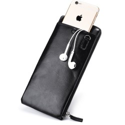 Men Long Section Wallet Zipper Male Phone Package Slim Wallets Black