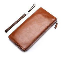 Men Long Section Wallet Zipper Male Phone Package Slim Wallets Coffee