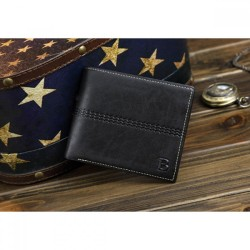 Black Leather Wallet Fashion Purse Casual Men Short Wallet