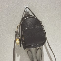 Black and white Pu Leather Small Backpack For Women