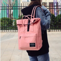 Pink Canvas Middle Large Capacity Backpack