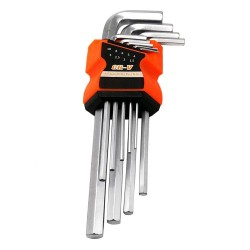 9pc/set Durable Wrench Hex Key Set Middle L Shape Allen Key Hand Tool 1.5-10mm Silver Tone
