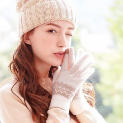 Winter Gloves Touch Screen Warm Knit Gloves Soft Wool Lining Elastic Cuff Warm Gloves