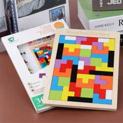 40pcs Wooden Tetris Puzzle 3d Tangram Jigsaw Educational Toys Preschool Children