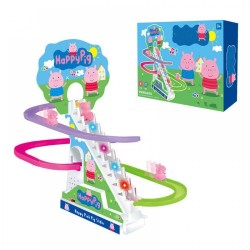 Medium Size Peppa Pig Car Electric Climb Stairs Classic Track Set Toys For Kid