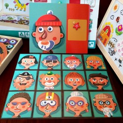 Kids Funny Puzzle Educational Social Role Occupation Toys Wooden Magnetic Jigsaw
